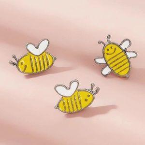 New Three Piece Happy Bee Brooch Set